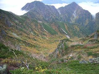 蓮華岳~船窪岳の稜線